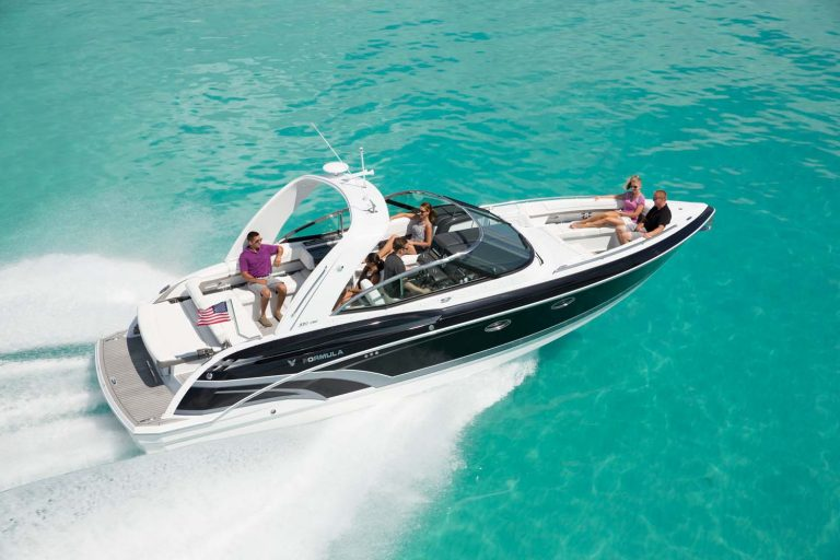 Stylish speed boat with cabin